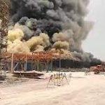 آتش سوزی گسترده در مجتمع پتروشیمی کنگان