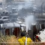 آتش سوزی در یک اوراقچی اتومبیل نزدیک فرودگاه بن گوریون اسرائیل